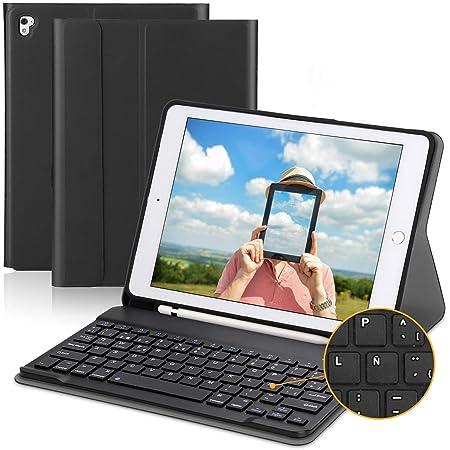 PEYOU Teclado Compatible para iPad 2018, Funda con Teclado Español Bluetooth Inalámbrico, Compatible para iPad 9.7/Pro 9,7/Air 2/1/2018 (6th Gen)/ ...