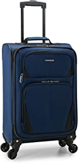 U.S. Traveler Aviron Bay Expandable Softside Luggage with Spinner Wheels, Navy, Carry-on 23-Inch