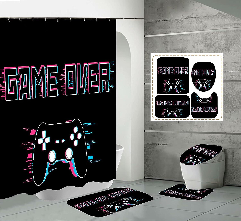 Dallas Ranking TOP3 Mall Gamepad Bathroom Shower Curtain Set Gamer Waterpro Black Console