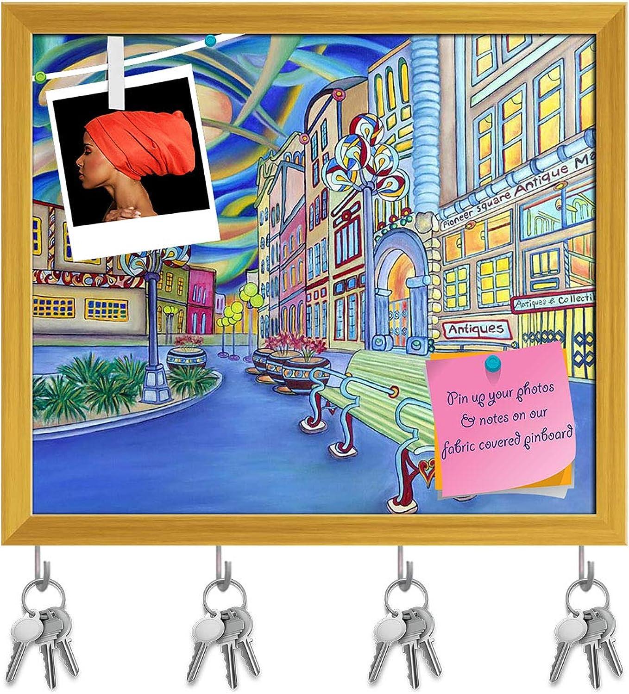 Artzfolio Seattle Downtown Modern City D2 Key Holder Hooks   Notice Pin Board   golden Frame 18.6 X 16Inch
