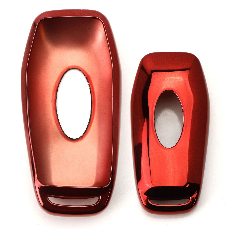 iJDMTOY Chrome Finish Red TPU Key Fob Protective Case Cover Compatible With Kia Optima K5 Sorento Carens Forte Sportage Soul etc