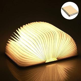 Yuanj Libro Lámpara LED, Luces Plegables de Madera 360°,