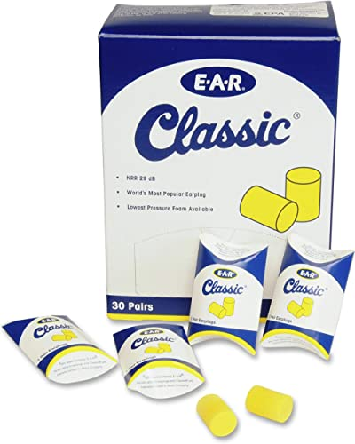 3M Ear Plugs, 30 Pairs/Box, E-A-R Classic 310-1060, Uncorded, Disposable, Foam, NRR 29, For Drilling, Grinding, Machi...