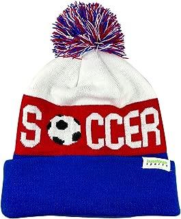 Pom Pom Beanies - Knitted Fleece Lined Beanie Hats w/Soccer Logo