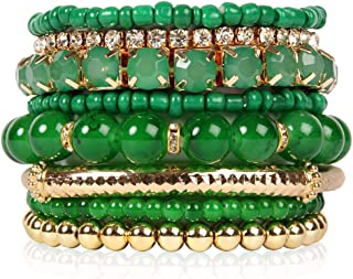 RIAH FASHION Multi Color Stretch Beaded Stackable Bracelets - Layering Bead Strand Statement Bangles