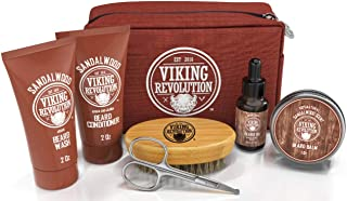 Beard Care Kit for Men Gift- Beard Grooming Kit Contains Travel Size Beard Oil, Beard Balm, Beard Shampoo & Conditioner, B...