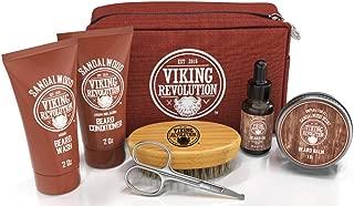 Beard Care Kit for Men Gift- Beard Grooming Kit Contains Travel Size Beard Oil, Beard Balm, Beard Shampoo & Conditioner, Beard Brush and Grooming Scissors - Includes Travel Case (Sandalwood)