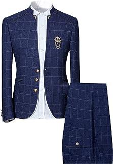 Mens Unique Slim Fit Checked Suits 2 Piece Vintage Jacket and Trousers