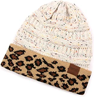 Cable Knit Ponytail Beanie Hat - Stretch High Bun Hair Sweater Winter Headwrap Solid, Leopard