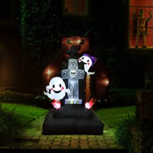 Ghost Tomb 5Ft Halloween Decorations Outdoor, Inflatable Tombstones with Ghost, Grave Scene Built-in LED Lights, Blow up Outside, Archway, Yard, Garden Lawn Home Holiday Decoration
