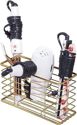 mDesign Farmhouse Metal Wire Bathroom Wall Mount Hair Care & Styling Tool Organizer Storage Basket for Hair Dryer, Fl...