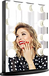 Impressions Hollywood Glow Vanity Mirror with 10 LED Bulbs, Vanity Dressing Mirror with Standing Base and Power Outlet, Black