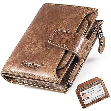 Senbos Portefeuille Homme en Cuir Véritable 18 Emplacements pour Cartes de Crédit Blocage RFID Portefeuille pour Homme Poche à Monnaie avec Support de Carte d'identité Extra Amovible