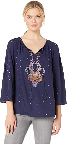 Printed Challis Embroidered Blouse