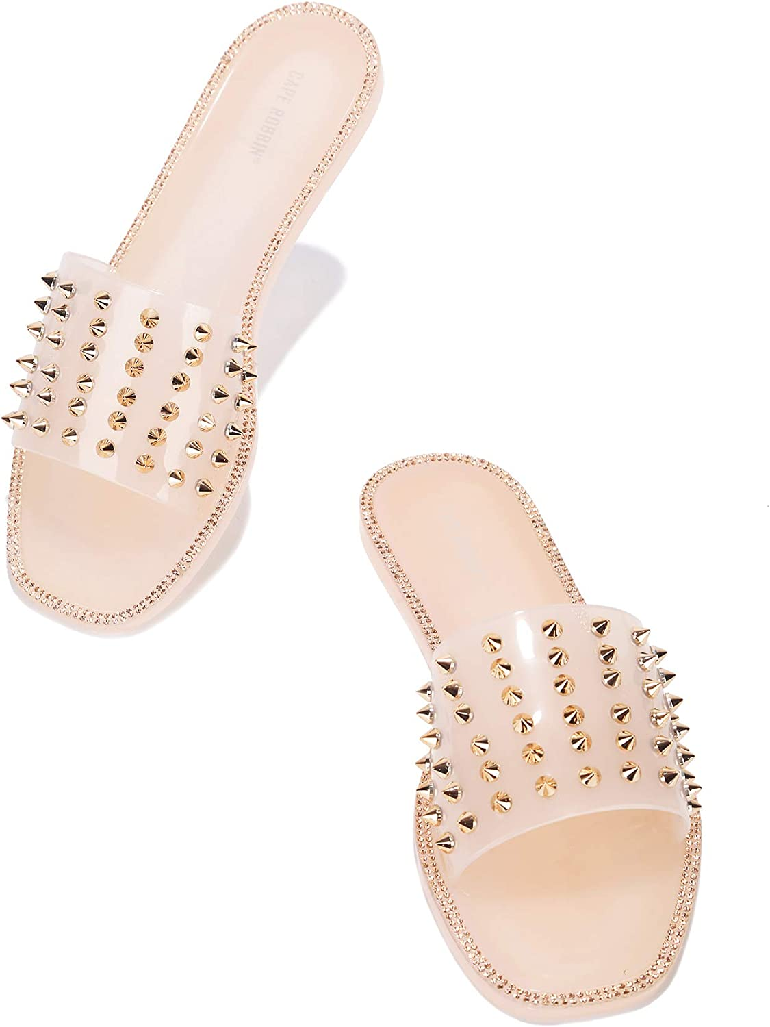 Cape Robbin Kamon Jelly Sandals Slides for Women, Womens Mules Slip On Shoes with Spikes