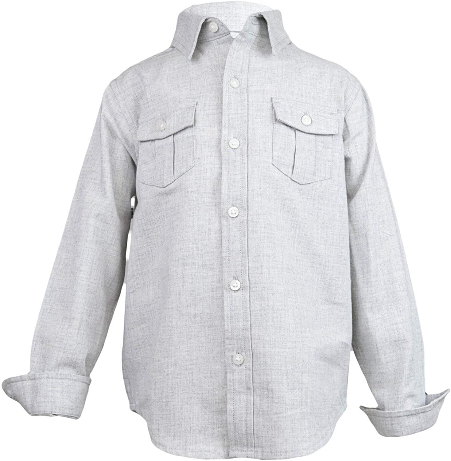 Janie and Jack Brushed Twill Shirt Button-Down & Dress - 5 - Heather Grey
