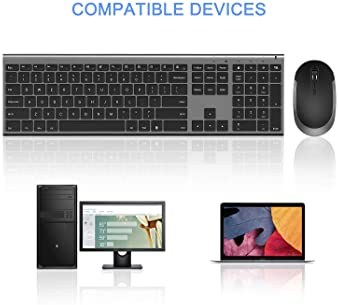 Wireless Keyboard and Mouse, Vssoplor 2.4GHz Rechargeable Compact Quiet Full-Size Keyboard and Mouse Combo with Nano ...