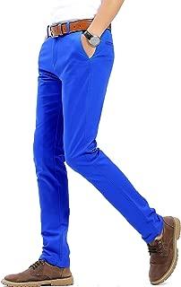 Men's Stretchy Slim Fit Casual Pants,100% Cotton Flat Front Trousers Dress Pants for Men