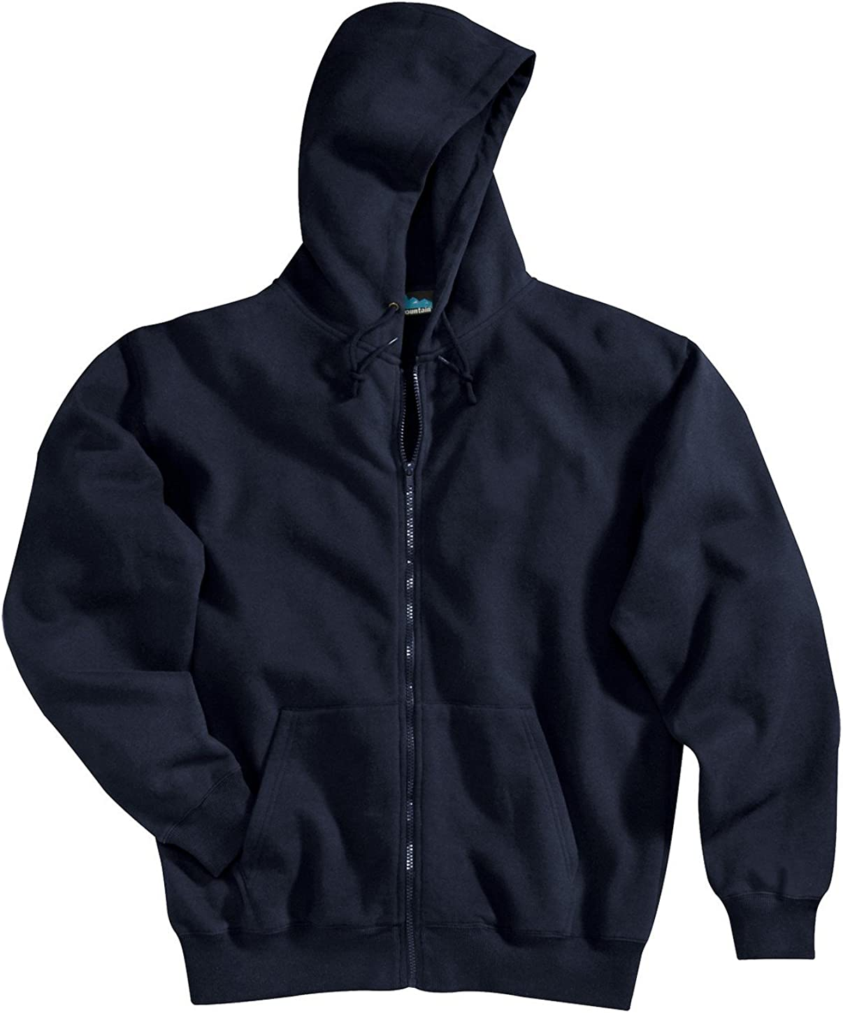 Tri-mountain Cotton/poly sueded finish hooded full zip sweatshirt. - NAVY - XLT