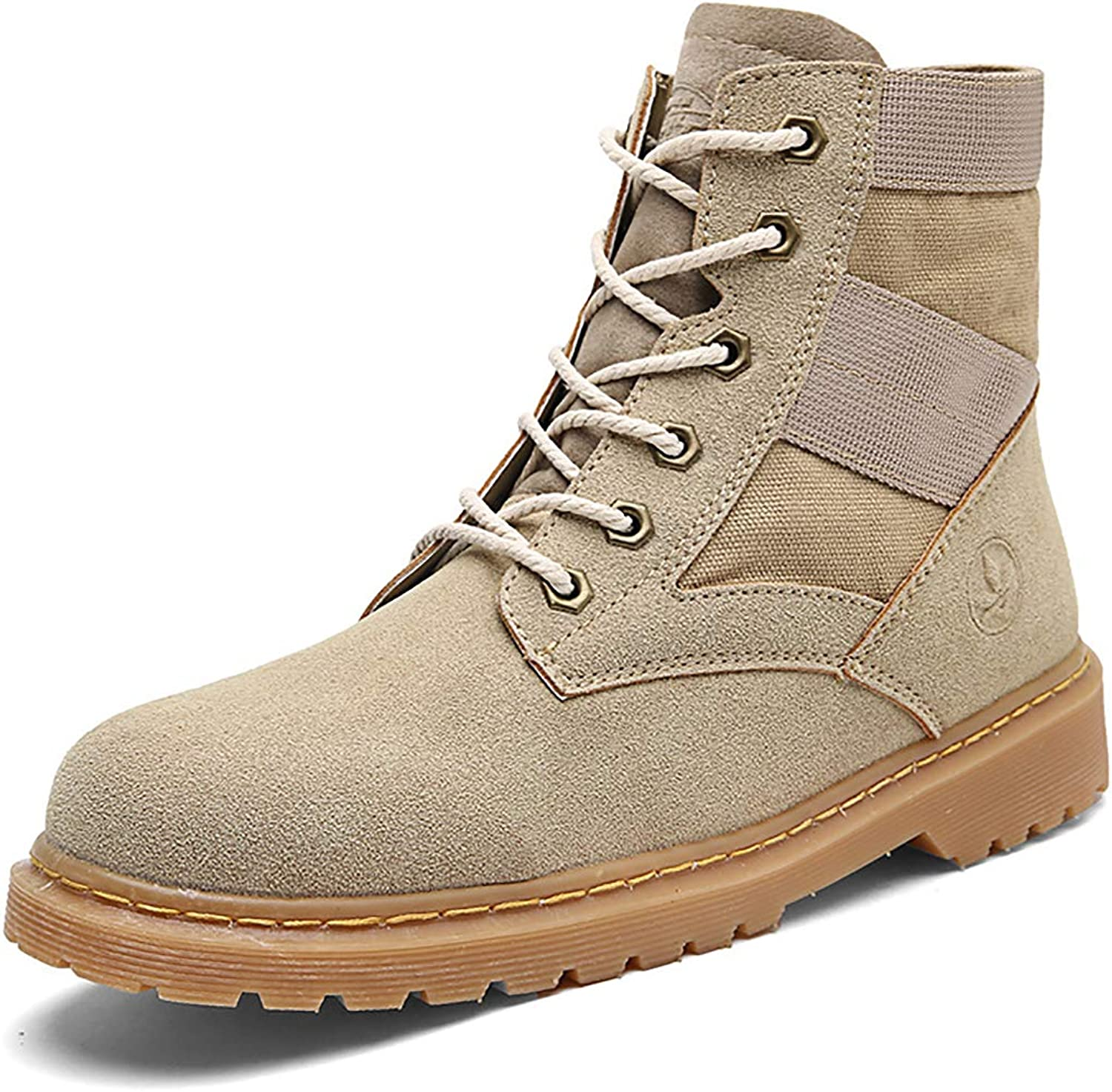 Men's Outdoor Lace UP Round Head Combat Boots Oxford Sole Casual Tooling Boots, Single shoes & Plus Velvet,Brown,41