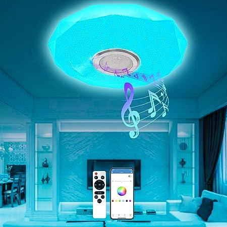 T-SUN Plafonnier LED Musique 36W 4000LM Plafonnier LED Couleur Plafonniers LED avec Haut-Parleur Bluetooth, Télécommande et Contrôle APP, IP54 Étanche Plafonnier Dimmable pour Salon, Chambre - Ø 30CM