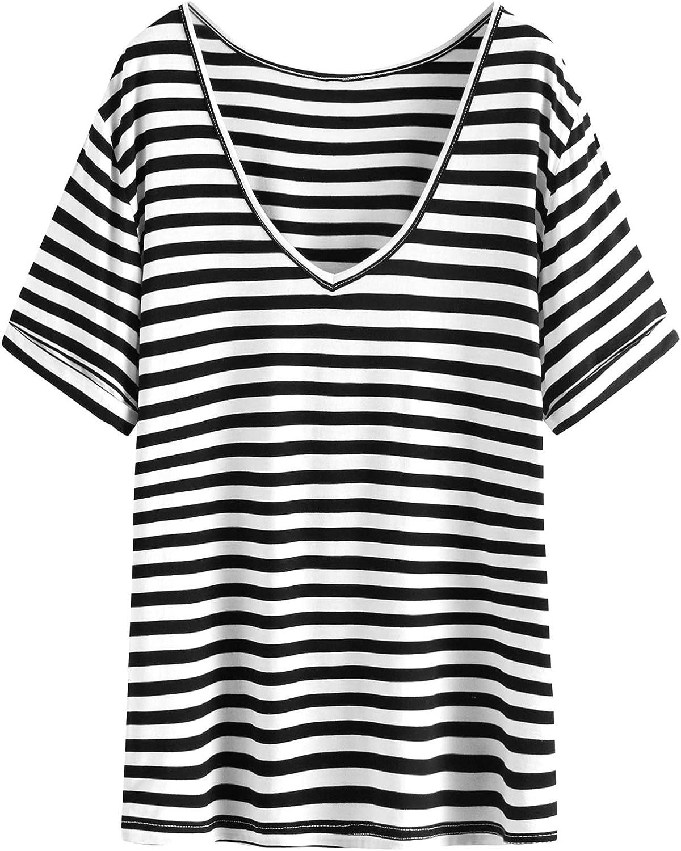 SheIn Women's Summer Short Sleeve Loose Casual V Neck Tee T-Shirt Tunic Tops