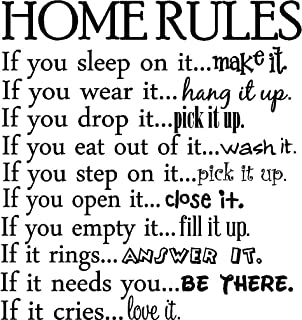 Sticker Perfect Home Rules if You Sleep on it.Make it if You wear it.Hang it up if You Drop it.Pick it up if You eat Out of it.wash it if You Step on it.Pick it up if You Open it.