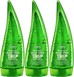 Cosmo Skin Naturals 100% Pure & Natural Aloe Vera Moisturizing Soothing Gel For Unisex- 165ml Green Pack Of 3 - Moisturize...