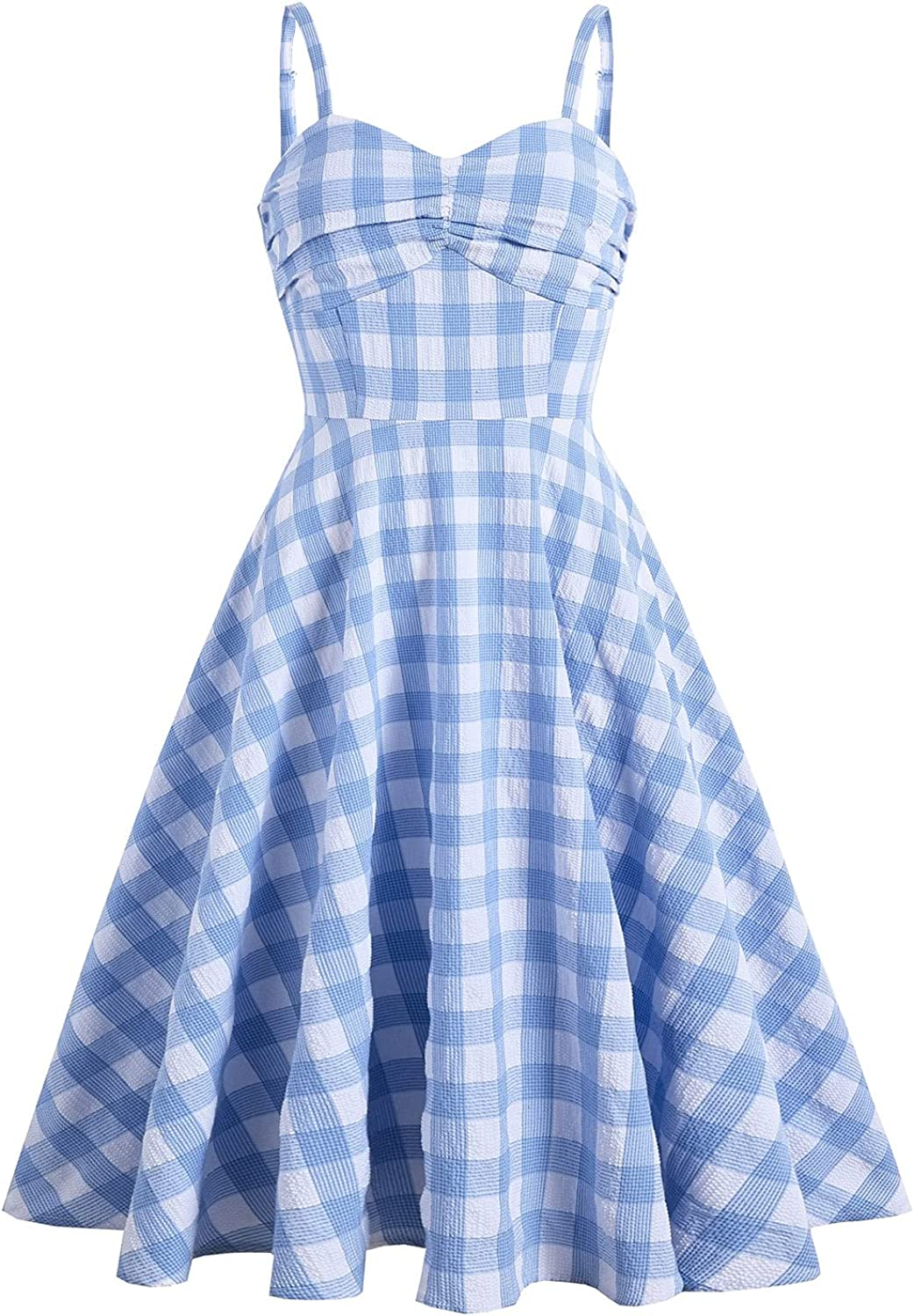 Wellwits Women's Ruched Bow Plaid Spaghetti Straps Vintage Cocktail Dress