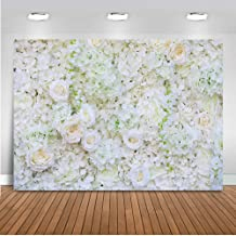 Mehofoto Wedding Floral Wall Backdrop Valentine's Day Flower Wall Photography Background 7x5ft Vinyl White Flowers Wedding Party Backdrops