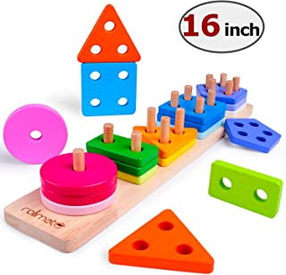Wooden Educational Toys for 1 2 3 4 5 Year Old Boys Girls Toddler Toys Shape Color Recognition Geometric Board Blocks Sorting & Stacking Preschool Toys Parent-Child Interaction Toys Non-Toxic (16IN)