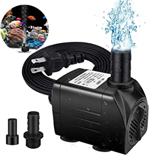 HEIGE Fountain Pump, 220GPH Submersible Water Pump, Durable 16W Outdoor Fountain Water Pump with 6ft Power Cord, 2 Nozzles for Aquarium, Pond, Fish Tank, Water Pump Hydroponics, Backyard Fountain