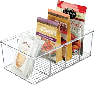mDesign Plastic Food Storage Organizer Bin Box Container - 4 Compartment Holder for Packets, Pouches, Ideal for Kitchen, P...