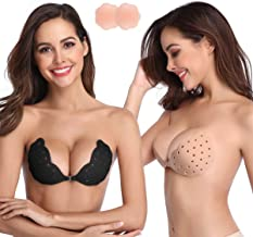 Niidor Sticky Bra, Breathable Strapless Bra Adhesive Push Up Backless Bras for Women