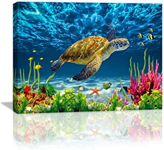Canvas Wall Art Ocean Sea Wall Decor Pictures Artwork Painting Ocean Decor Canvas Prints Nautical Bathroom Art Pictures Canvas Bathroom Decor Canvas Framed Prints Sea Turtle Bedroom Ready to Hang