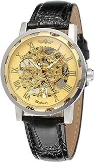Men's Skeleton Mechanical Wrist Watch Steampunk Luxury Black Leather