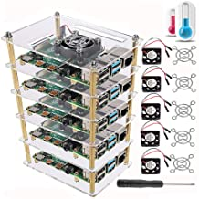 DORHEA Raspberry Pi 4 B Case, Raspberry Pi Rack Cluster Case Stacking Case with Cooling Fan and Fan Cover for Raspberry Pi...