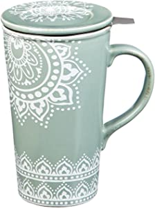 Tea Lace Double Wall Ceramic Cup - 5 x 7 x 4 Inches