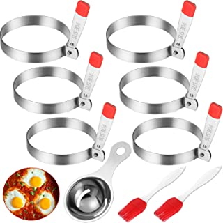 6 Pieces Stainless Steel Egg Ring Non-stick Fried Egg Mold and Egg White Yolk Separator with 2 Pieces Silicone Brush Kitchen Breakfast Cooking Tool, Total 9 Pieces