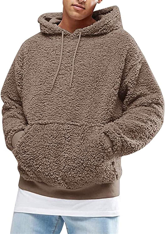 Men's Sherpa Fleece Pullover Sweatshirt Jacket Button Collar Warm Sweater Coat Outwear with Kangaroo Pocket (Brown,Large)