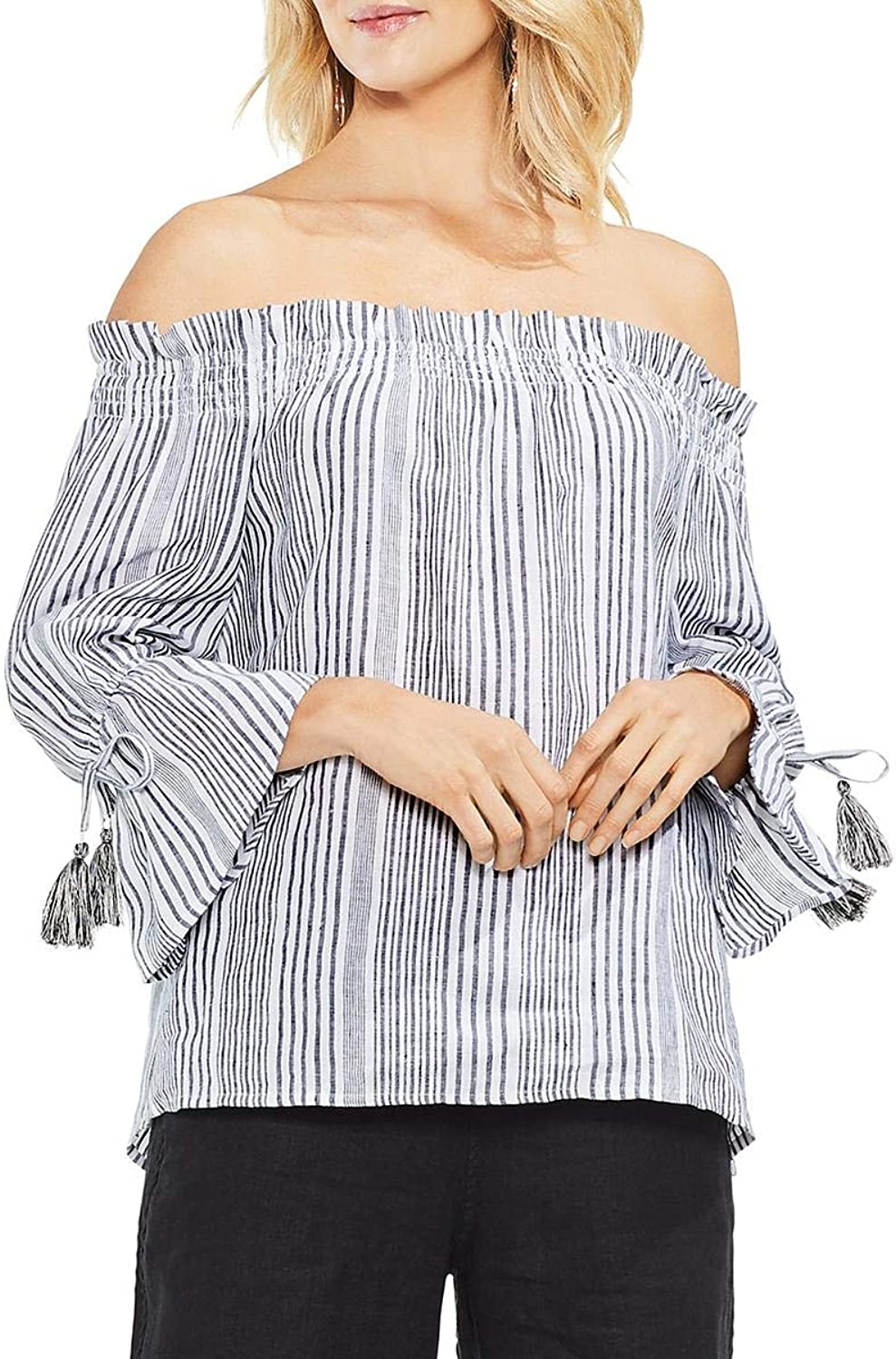 Vince Camuto Womens Linen OffTheShoulder Blouse