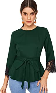 Milumia Women Elegant Zipper Back Ruffle Hem Self Tie Lace Cuff Blouse Shirt Top