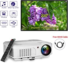4400 Lumens Multimedia WXGA LED LCD Video Projector 1080P 720P HD Movie Game TV DVD Outdoor Home Front Rear Ceiling Projector with Zoom Keystone Built-in Speakers Remote AV VGA Audio HDMI USB Inputs