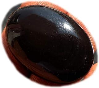 RASIO Cabujón de obsidiana arco iris negro, piedra preciosa semipreciosa natural, forma de pera 68 quilates 41x31x8 mm, K-...