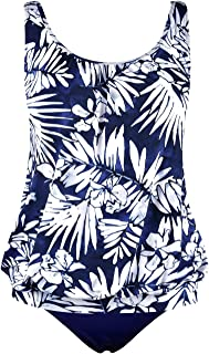 Women's Two piece Swimsuits Bandeau Blouson Tankini Set with Swim Brief by Hilor