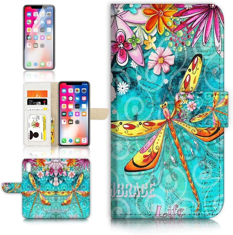 (for iPhone Xs, iPhone X) Flip Wallet Case Cover & Screen Protector Bundle - A21095 Dragonfly