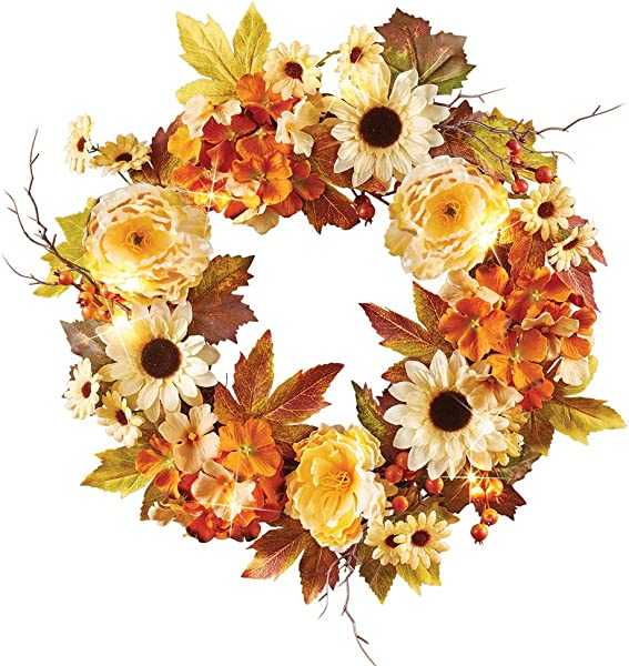 Collections Etc LED Lighted Country Autumn Floral Wreath With Hydrangea Blossoms Sunflowers Peonies Berries And Leaves