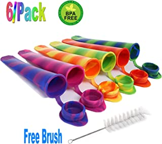 Silicone Ice Pop Molds Attached Lid BPA free Multicolored Ice Popsicle Molds Durable Reusable Set of 6pcs the Brush Free of charge (multi color)