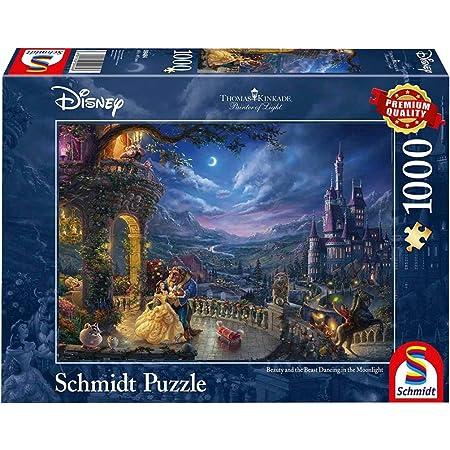 Schmidt Spiele Non Thomas Kinkade, Disney La belle et la bête, Danse au clair de la lune, 1000 pcs, 59484, Multicolore