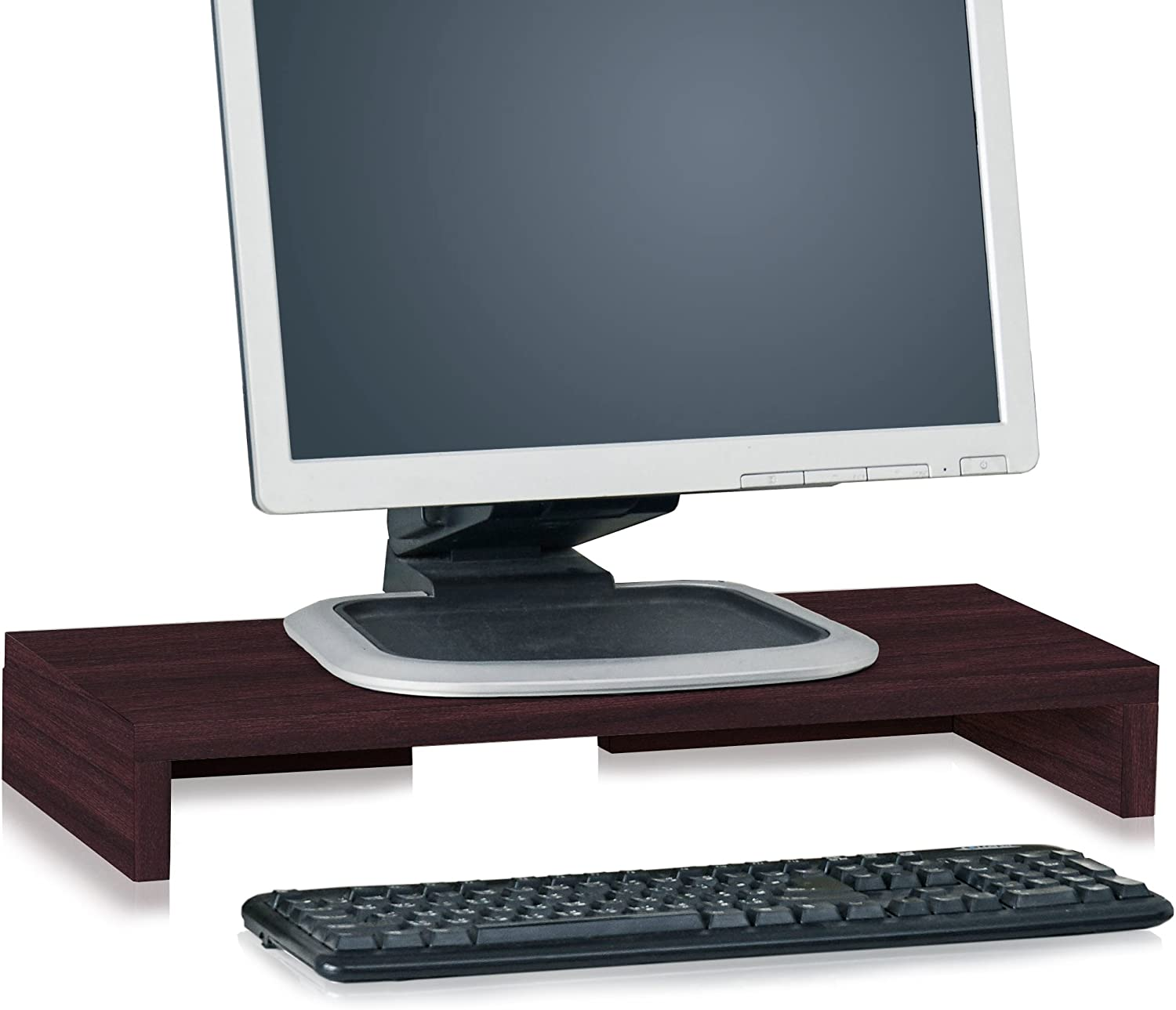 Way Basics TV PC Desktop Modern Computer Monitor Stand Screen Riser (Tool-Free Assembly and Uniquely Crafted from Sustainable Non Toxic zBoard Paperboard), Espresso Wood Grain